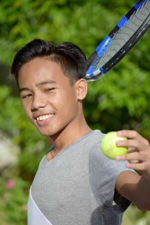 Happy Male Tennis Player With Tennis Racket 版權商用圖片