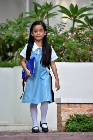 Standing Filipina Child Girl Student Wearing School Uniform
