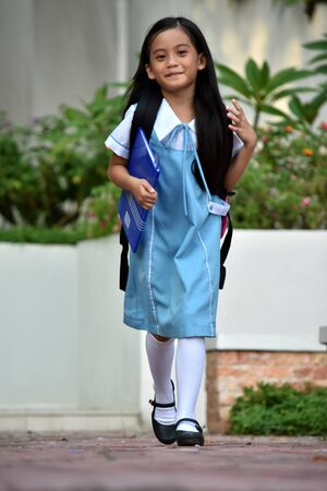 Child Girl Student Walking Wearing Uniform Imagens
