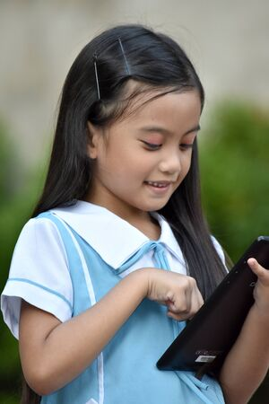 Student Child And Happiness With Tablet