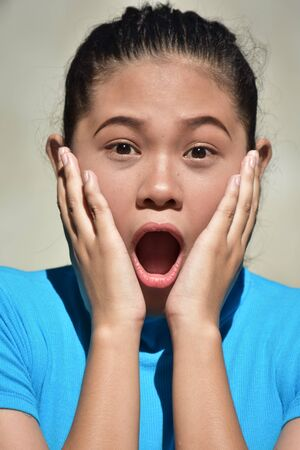 An A Startled Filipina Female Stock Photo