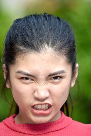 A Filipina Girl Under Stress 写真素材