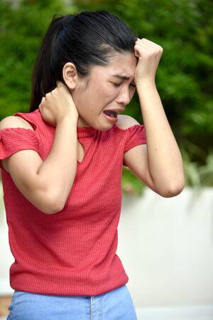 A Stressful Filipina Teenage Female Archivio Fotografico