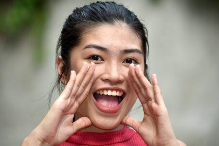 An A Filipina Juvenile Shouting Archivio Fotografico