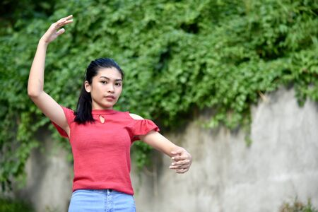 An A Youthful Female Dancing Stock Photo