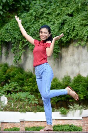 A Cute Filipina Youth Dancing