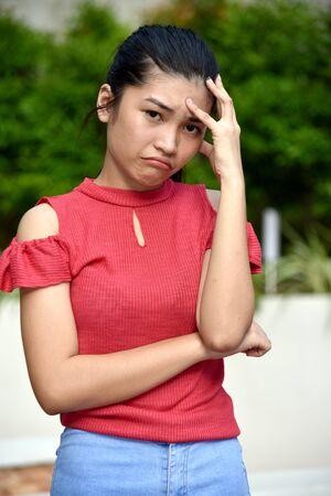 A Sad Cute Diverse Teenage Female