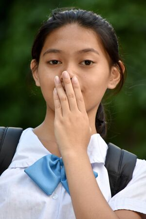 Shy Cute Asian Student Teenager School Girl