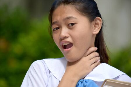 A Student Teenager School Girl Choking