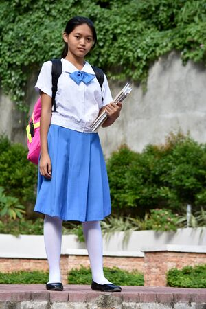 Serious Diverse Student Teenager School Girl