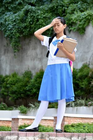 Forgetful Filipina Student Teenager School Girl