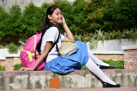 Student Teenager School Girl Wearing Skirt Stockfoto