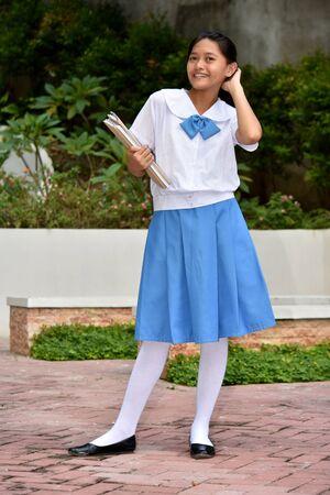 Beautiful Girl Student Posing With School Books