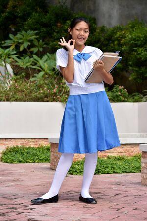 Okay Youthful Girl Student With School Books