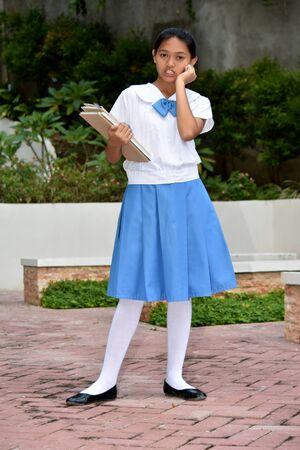 Happy Student Teenager School Girl With School Books Archivio Fotografico