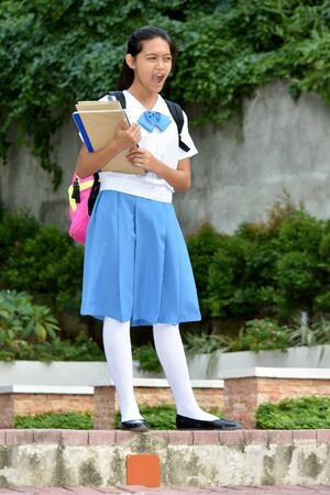 Student Teenager School Girl Shouting With School Books Stock Photo