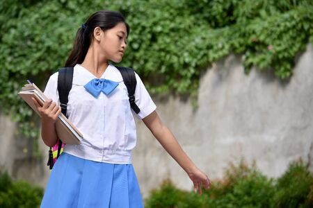 Lonely Youthful Minority Student Teenager School Girl