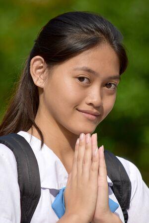 Pretty Student Teenager School Girl Praying