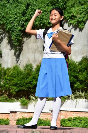 An A Proud Girl Student 스톡 콘텐츠