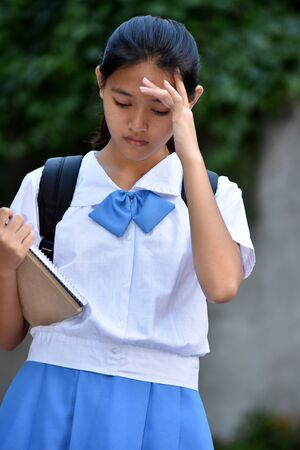 An A Stressed School Girl Stockfoto