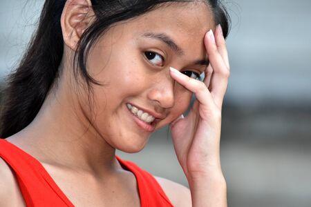 A Shy Beautiful Girl Stock Photo