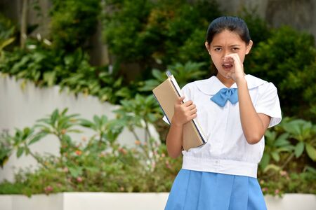 Shouting Beautiful Minority Female Student With School Books