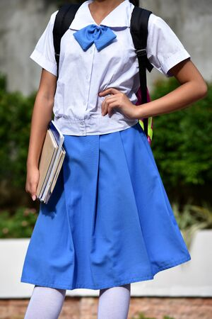 A Young Minority School Girl Waiting 스톡 콘텐츠