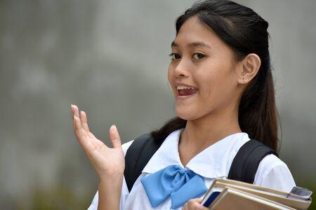 Surprised Asian Teen Student School Girl