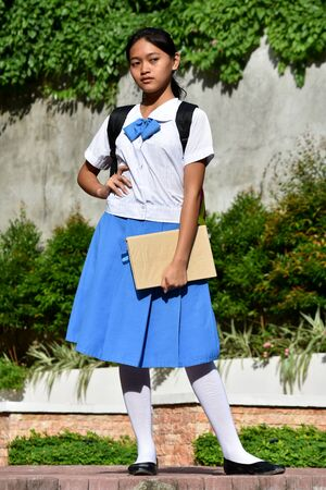 A Pretty Minority Girl Student Standing Imagens