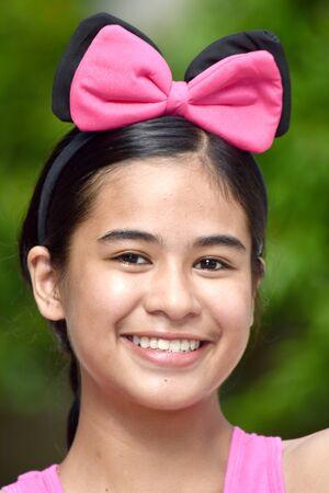 An A Filipina Teenager Girl Smiling Stock Photo