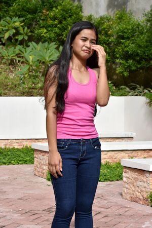 An A Tearful Filipina Teen Girl