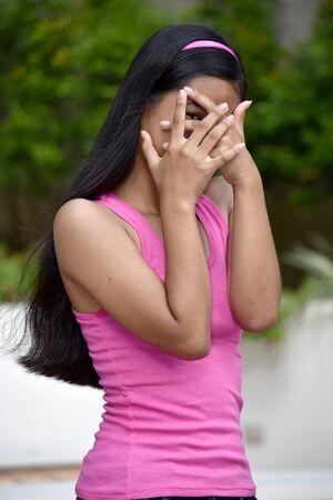 An A Fearful Filipina Teenage Female 스톡 콘텐츠