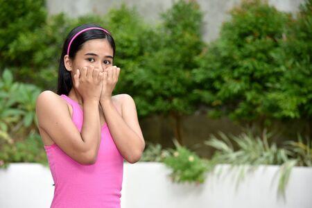 An A Fearful Cute Filipina Person