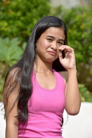 An A Tearful Filipina Girl Youth