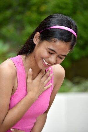 An A Beautiful Filipina Girl Laughing