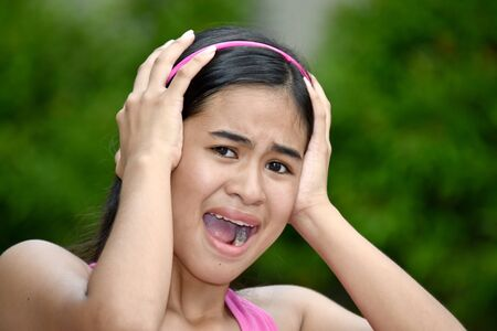 An A Teenage Female Under Stress 스톡 콘텐츠
