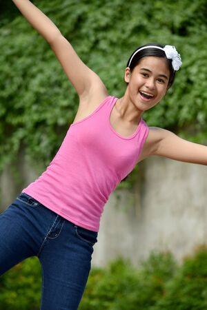 An A Filipina Female Having Fun
