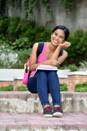 Smiling Young Filipina Student Teenager School Girl