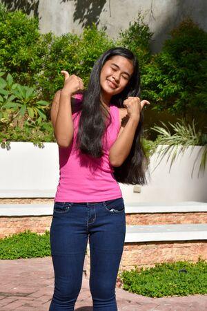 A Young Teenage Female Having Fun
