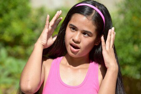A Stressed Cute Filipina Teen Girl