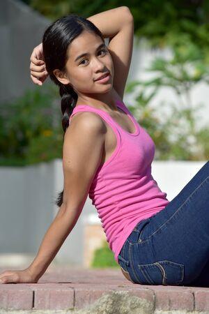 Beautiful Filipina Teen Girl With Long Hair
