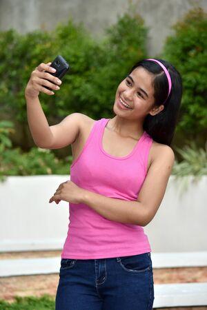 Selfy Of Cute Asian Teen Girl Stock fotó