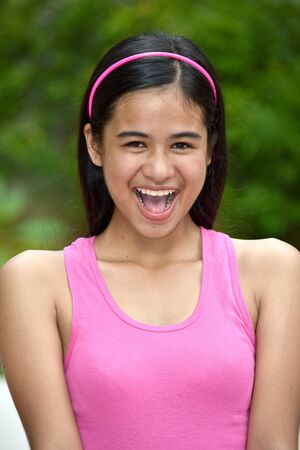 An A Happy Beautiful Filipina Girl Stock fotó