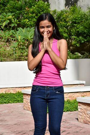 An A Praying Pretty Asian Female