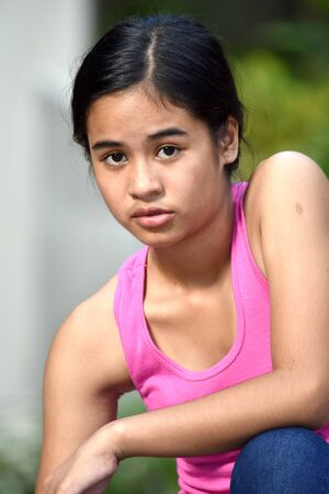 An A Serious Asian Teen Girl Stock fotó