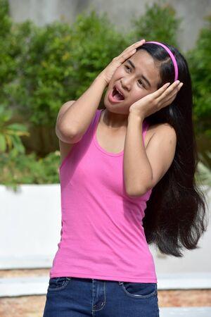 An A Stressful Asian Teen Girl Stock fotó - 131527247