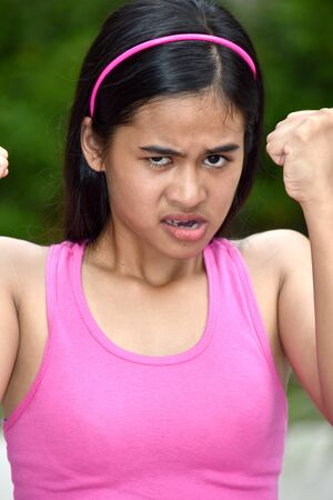 An A Female Youngster And Anger Imagens