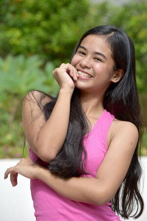A Pretty Teen Girl And Shyness Stock fotó - 131527192