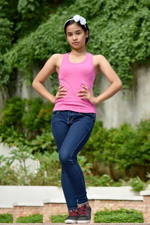 A Posing Cute Filipina Female Youngster