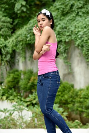 A Shy Youthful Diverse Teenager Girl